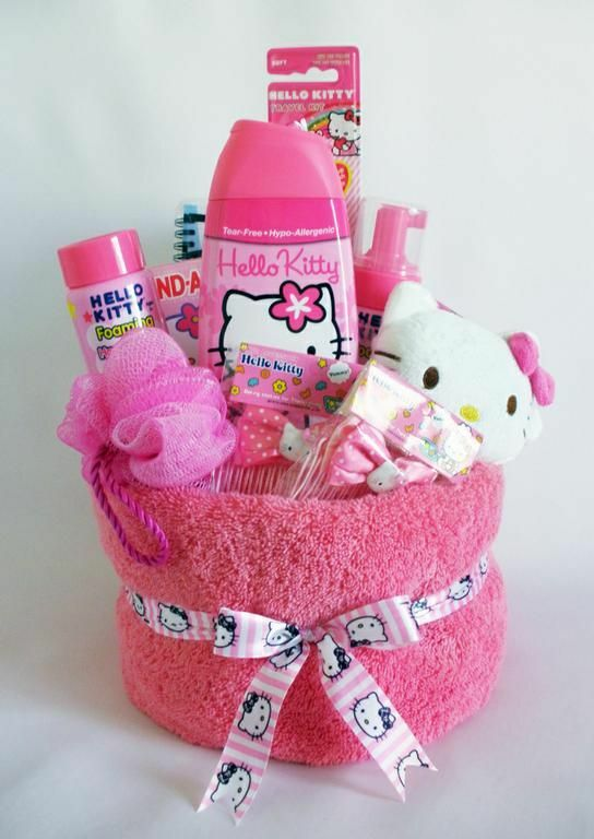 DIY Hello Kitty gift basket with Hello Kitty towel and bath accessories