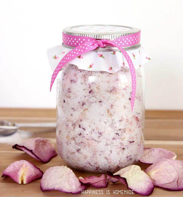 diy sugar scrub with crushed rose petals