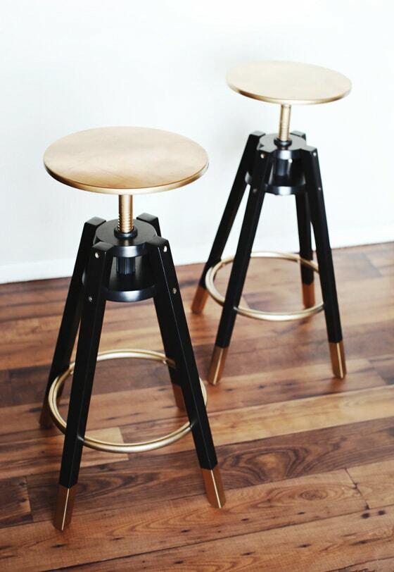 Ikea bar stools with gold seats
