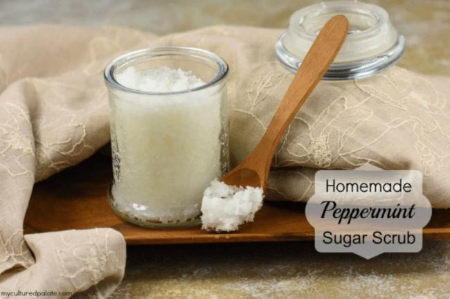 diy sugar scrub with peppermint