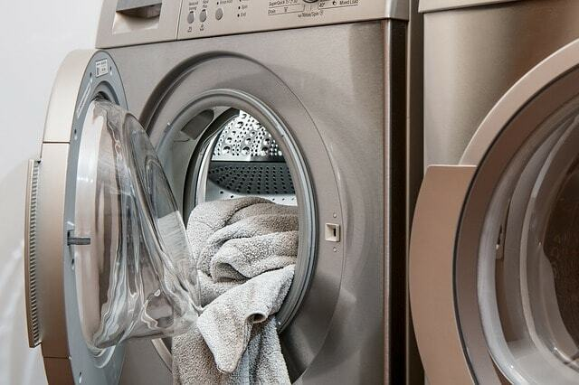 washing machine with towel inside