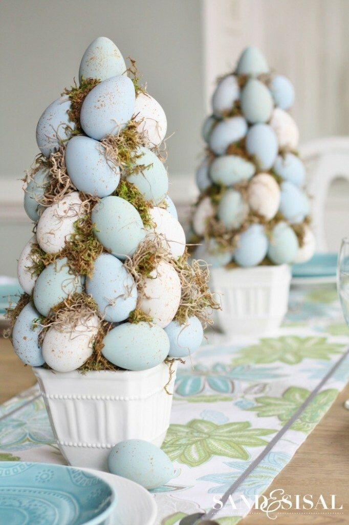 spring crafts topiary egg tree