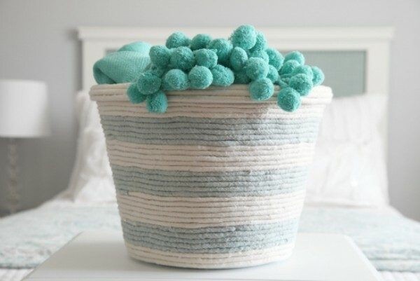 rope basket with towels