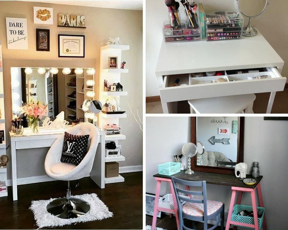 8 easy diy makeup vanity ideas you cannot miss balancing bucks. Black Bedroom Furniture Sets. Home Design Ideas