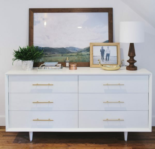 dresser with artwork