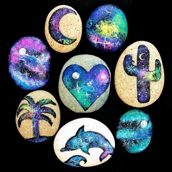 galaxy painted rocks