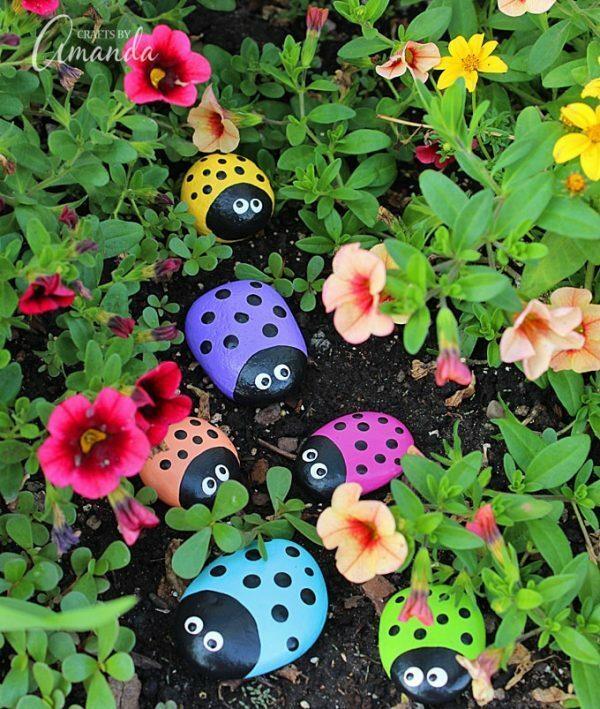 Lady Bug Painted Rocks