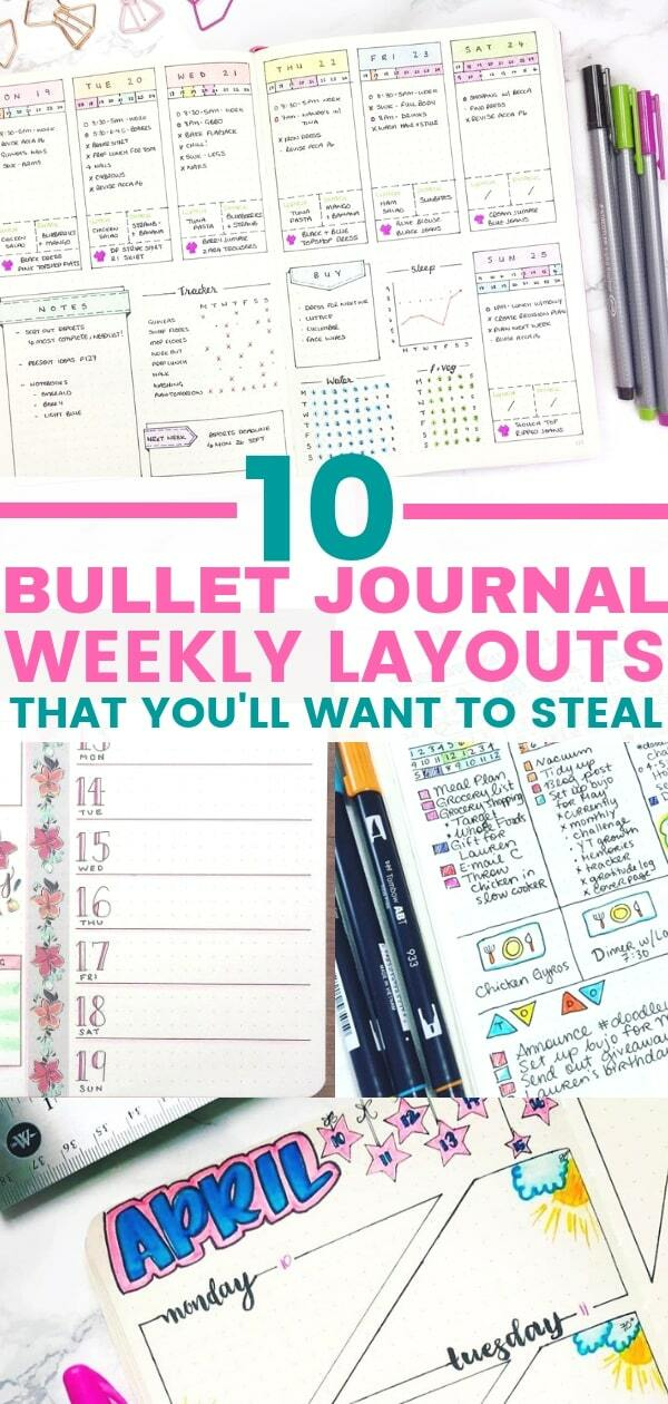 Weekly bullet journal layout ideas that you will want to copy. Organize your week with these easy bullet journal weekly spreads.