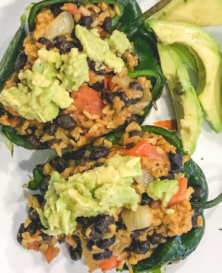 Vegan Stuffed Poblano Peppers - Daniel Fast Recipe